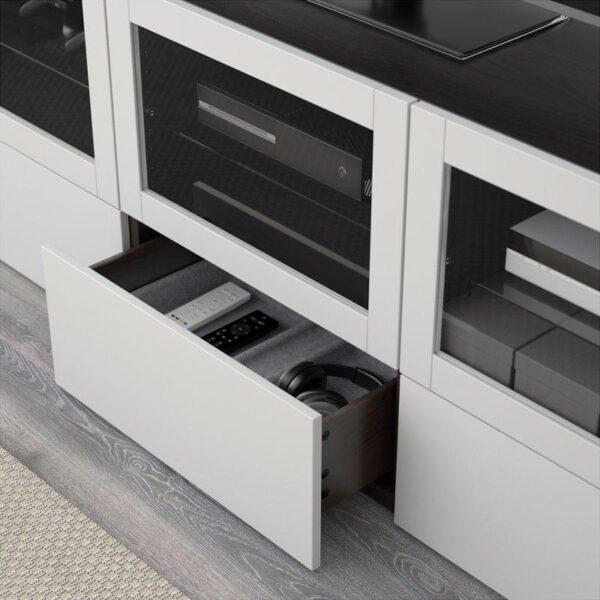 БЕСТО Тумба под ТВ, с дверцами и ящиками черно-коричневый Синдвик/Лаппвикен светло-серый прозрачное стекло 180x40x64 см   Артикул: 592.497.82