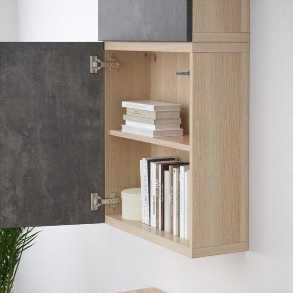 БЕСТО Навесной шкаф с 2 дверями под беленый дуб Кэлльвикен/темно-серый под бетон 60x20x128 см   Артикул: 392.762.91