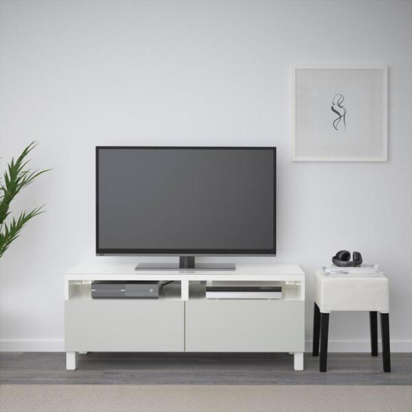 БЕСТО Тумба д/ТВ с ящиками белый/Лаппвикен светло-серый 120x40x48 см | Артикул: 692.448.97