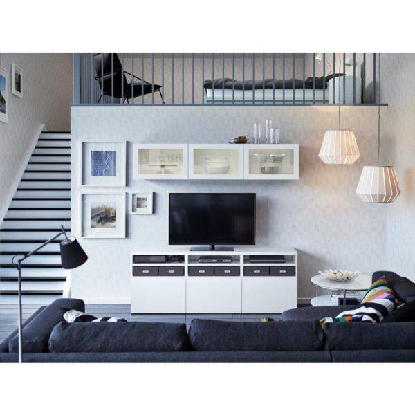 БЕСТО Шкаф для ТВ, комбин/стеклян дверцы Лаппвикен/Синдвик белый прозрачное стекло 180x40x192 см | Артикул: 892.498.32