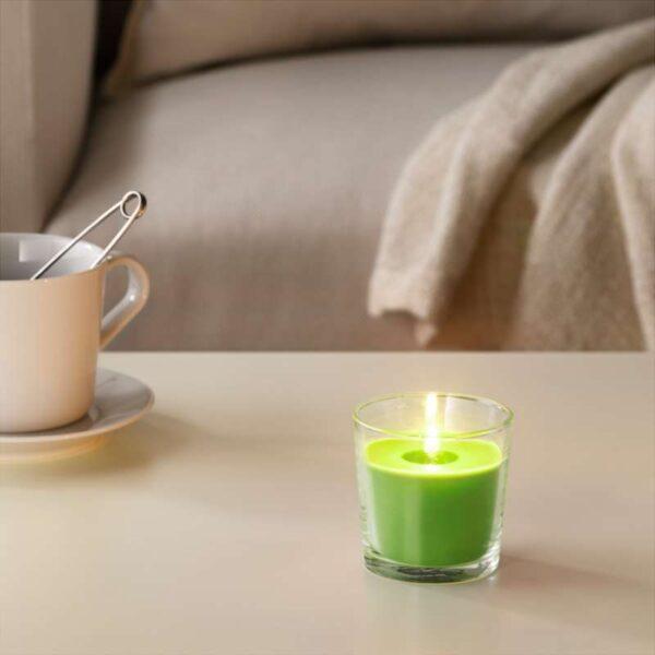 СИНЛИГ Ароматическая свеча в стакане Яблоко и груша/зеленый 7.5 см - Артикул: 503.500.72