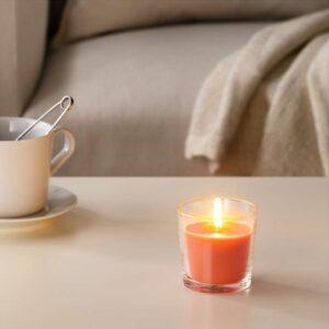 СИНЛИГ Ароматическая свеча в стакане Персик и апельсин/оранжевый 7.5 см - Артикул: 803.500.75