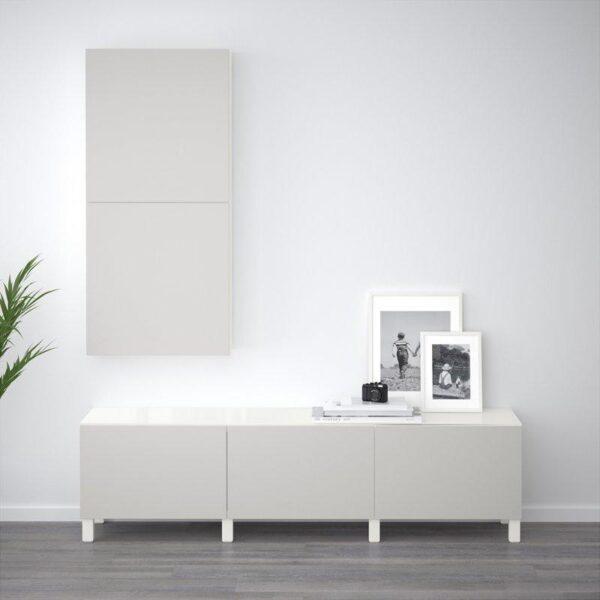 БЕСТО Комбинация для хранения с ящиками белый/Лаппвикен светло-серый 180x40x48 см | Артикул: 792.450.52