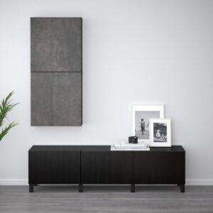 БЕСТО Навесной шкаф с 2 дверями черно-коричневый Кэлльвикен/темно-серый под бетон 60x20x128 см | Артикул: 392.762.86