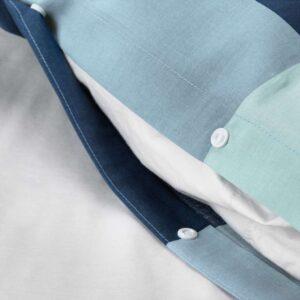 БРУНКРИСЛА Пододеяльник и 1 наволочка, синий/серый 150x200/50x70 см. Артикул: 503.754.21