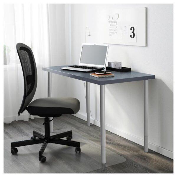 ЛИННМОН / ОЛОВ Стол, геометрический синий/серебристый 120x60 см - Артикул: 893.047.10