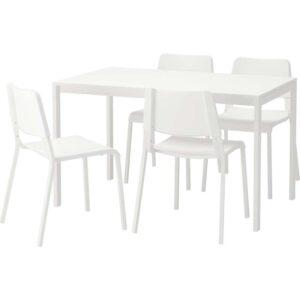 МЕЛЬТОРП / ТЕОДОРЕС Стол и 4 стула белый 125 см - Артикул: 892.212.58