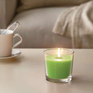 СИНЛИГ Ароматическая свеча в стакане Яблоко и груша/зеленый 9 см - Артикул: 203.500.78