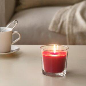 СИНЛИГ Ароматическая свеча в стакане Красные садовые ягоды/красный 9 см - Артикул: 203.500.83