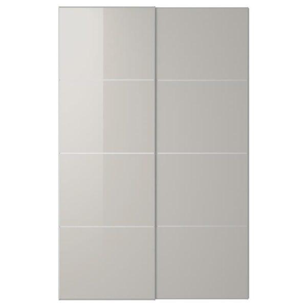ХОККСУНД Пара раздвижных дверей светло-серый глянцевый светло-серый 150x236 см - Артикул: 992.202.39