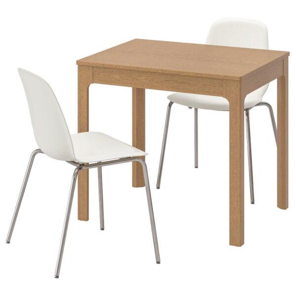 ЭКЕДАЛЕН / ЛЕЙФ-АРНЕ Стол и 2 стула дуб/белый 80/120 см - Артикул: 692.214.00