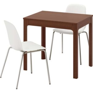 ЭКЕДАЛЕН / ЛЕЙФ-АРНЕ Стол и 2 стула коричневый/белый 80/120 см - Артикул: 592.214.34