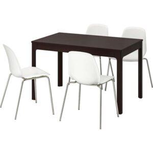 ЭКЕДАЛЕН / ЛЕЙФ-АРНЕ Стол и 4 стула темно-коричневый/белый 120/180 см - Артикул: 892.213.00