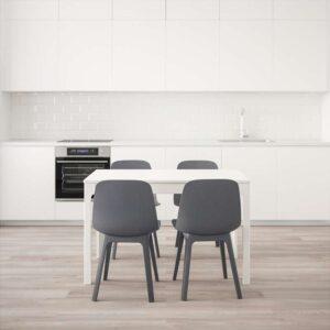 ЭКЕДАЛЕН / ОДГЕР Стол и 4 стула белый/синий 120/180 см - Артикул: 192.213.46