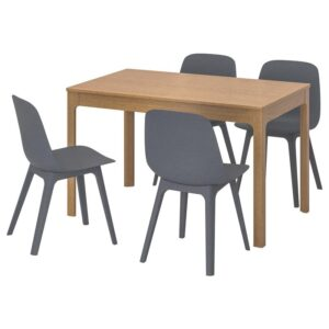 ЭКЕДАЛЕН / ОДГЕР Стол и 4 стула дуб/синий 120/180 см - Артикул: 892.214.18