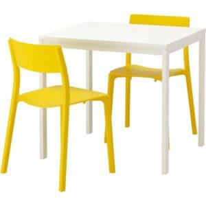ВАНГСТА / ЯН-ИНГЕ Стол и 2 стула белый/желтый 80/120 см - Артикул: 492.291.76