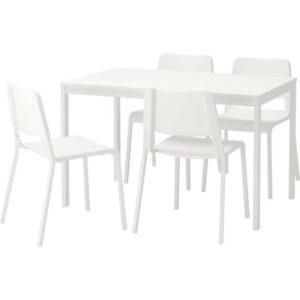 ВАНГСТА / ТЕОДОРЕС Стол и 4 стула белый/белый 120/180 см - Артикул: 892.297.73
