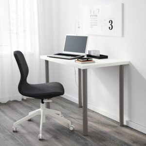 ЛИННМОН / АЛЬВАРЭТ Стол белый/серый 100x60 см - Артикул: 292.793.89