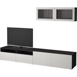 БЕСТО Шкаф для ТВ, комбин/стеклян дверцы черно-коричневый/Лаппвикен светло-серый прозрачное стекло 240x20/40x166 см | Артикул: 692.509.49