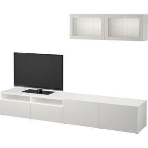 БЕСТО Шкаф для ТВ, комбин/стеклян дверцы белый/Лаппвикен светло-серый прозрачное стекло 240x20/40x166 см | Артикул: 392.509.55