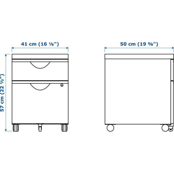 ЭРИК Тумба на колесиках с 2 ящиками белый 41x57 см - Артикул: 103.849.41