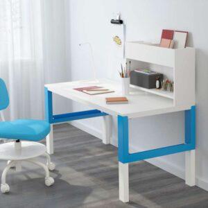 ПОЛЬ Стол с дополнительным модулем белый/синий 128x58 см - Артикул: 692.512.65