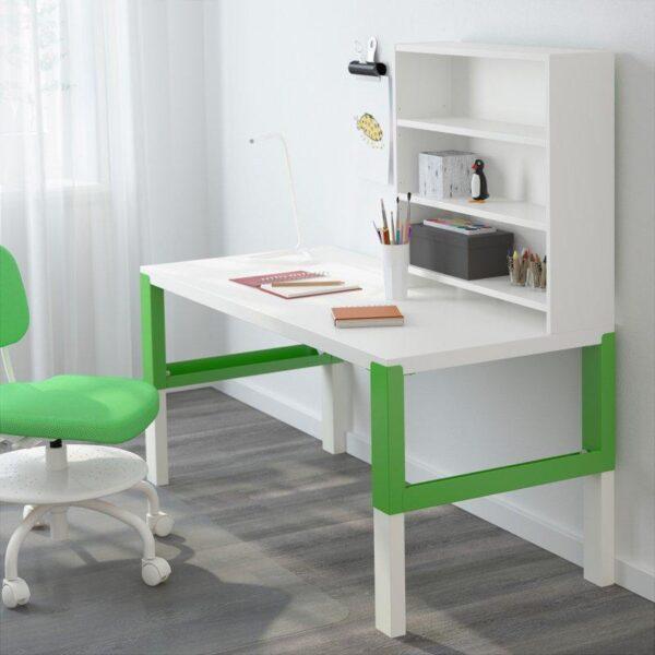 ПОЛЬ Письменн стол с полками белый/зеленый 128x58 см - Артикул: 192.784.13