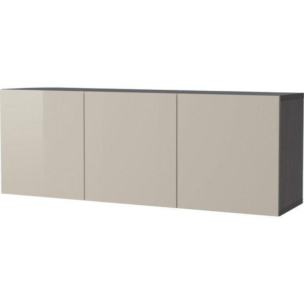 БЕСТО Комбинация настенных шкафов черно-коричневый/Сельсвикен глянцевый/бежевый 180x40x64 см | Артикул: 892.464.90