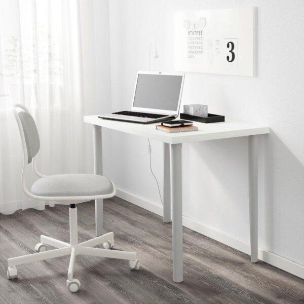 ЛИННМОН / ТОРСКЛИНТ Стол белый/светло-серый 100x60 см - Артикул: 092.793.90