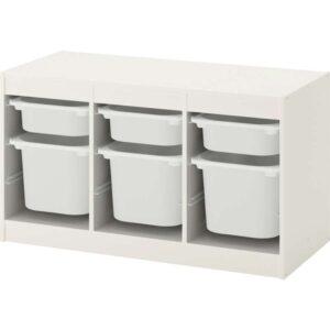 ТРУФАСТ Комбинация д/хранения+контейнерами белый/белый 99x44x56 см - Артикул: 892.221.49