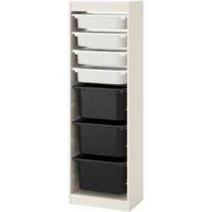 ТРУФАСТ Комбинация д/хранения+контейнерами белый/белый черный 46x145 см - Артикул: 392.222.22