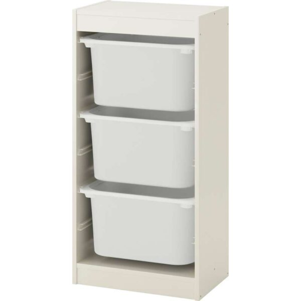 ТРУФАСТ Комбинация д/хранения+контейнерами белый/белый 46x30x94 см - Артикул: 392.221.99