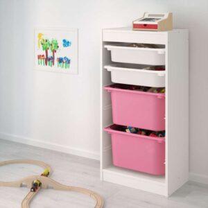 ТРУФАСТ Комбинация д/хранения+контейнерами белый/белый розовый 46x30x94 см - Артикул: 992.222.00