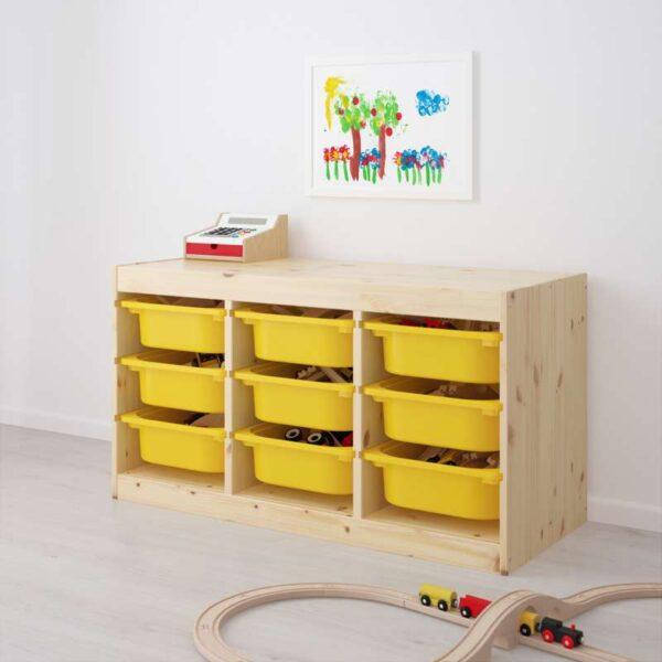 ТРУФАСТ Комбинация д/хранения+контейнерами светлая беленая сосна/желтый 94x44x52 см - Артикул: 492.223.92
