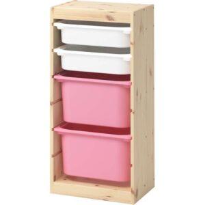 ТРУФАСТ Комбинация д/хранения+контейнерами светлая беленая сосна белый/розовый 44x30x91 см - Артикул: 392.223.83