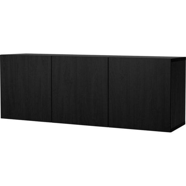 БЕСТО Комбинация настенных шкафов черно-коричневый/Лаппвикен черно-коричневый 180x40x64 см | Артикул: 092.464.89