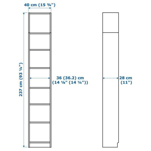 БИЛЛИ / ОКСБЕРГ Стеллаж с верхними полками/дверьми белый/стекло 40x237x30 см - Артикул: 092.874.32