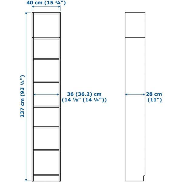 БИЛЛИ / ОКСБЕРГ Шкаф книжный со стеклянной дверью белый/стекло 40x237x30 см - Артикул: 592.874.44