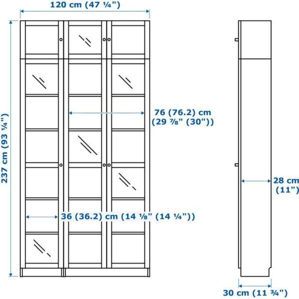 БИЛЛИ / ОКСБЕРГ Стеллаж, черно-коричневый, стекло - 120x237x30 см > Артикул: 592.435.58