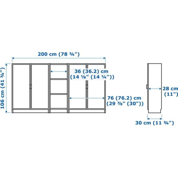 БИЛЛИ / МОРЛИДЕН Стеллаж белый 200x106x30 см - Артикул: 492.439.74