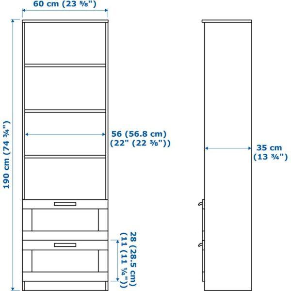 БРИМНЭС Стеллаж белый 60x190 см - Артикул: 903.833.39