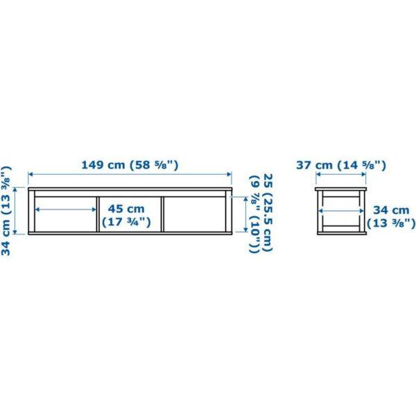 ХЕМНЭС Полочный/арочный модуль черно-коричневый 148x37 см - Артикул: 703.842.69