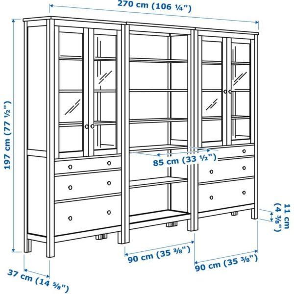ХЕМНЭС Комб для хран с дверц/ящ светло-коричневый 270x197 см - Артикул: 292.338.05