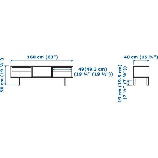 СТОКГОЛЬМ Тумба под ТВ, шпон грецкого ореха - 160x40 см > Артикул: 603.834.25