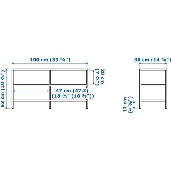 ВИТШЁ Тумба под ТВ белый/стекло 100x53 см - Артикул: 103.834.42