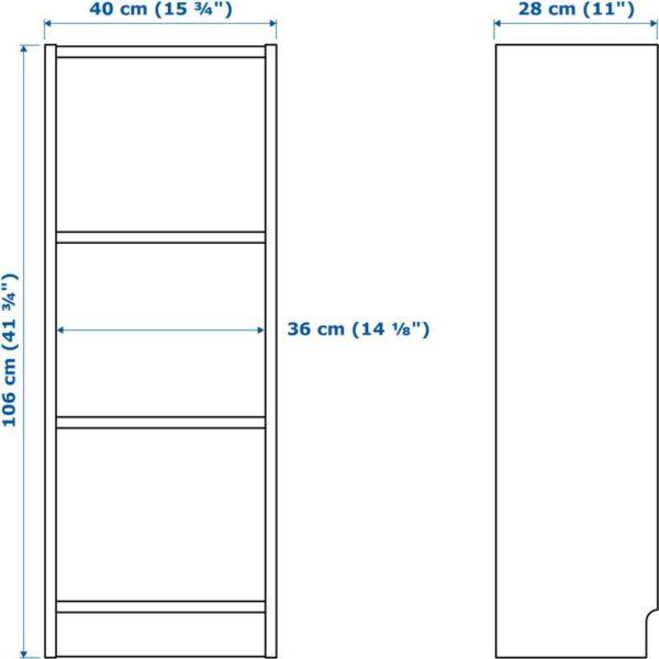 БИЛЛИ Стеллаж коричневый ясеневый шпон 40x28x106 см - Артикул: 703.842.12