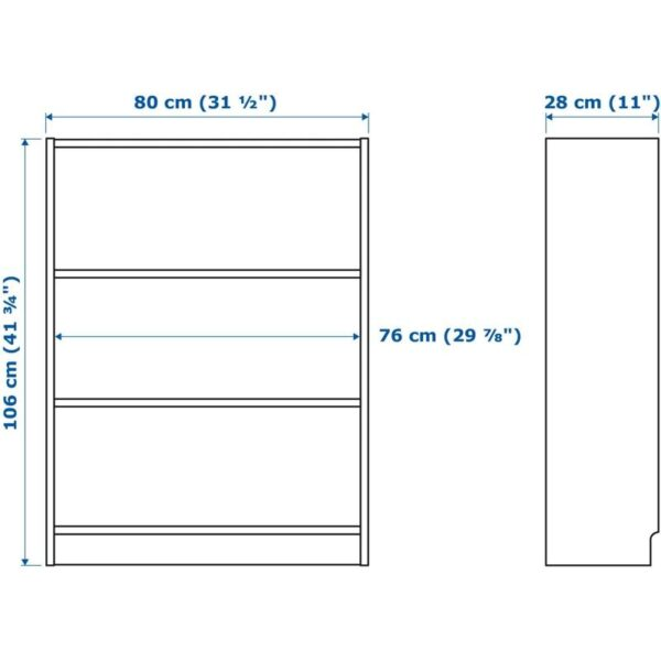 БИЛЛИ / МОРЛИДЕН Шкаф книжный со стеклянными дверьми белый/стекло 80x106x30 см - Артикул: 892.873.72
