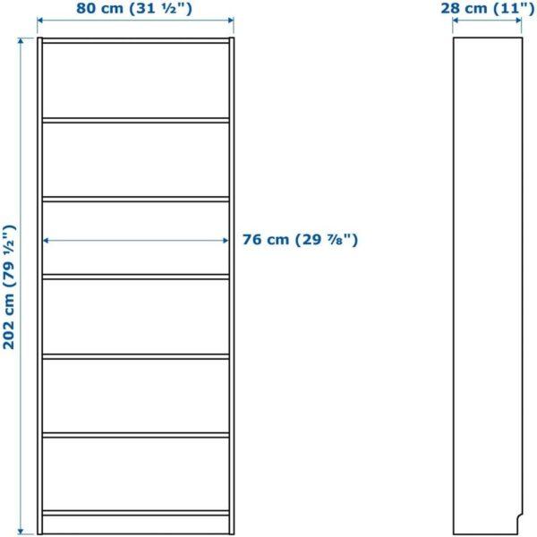 БИЛЛИ / МОРЛИДЕН Шкаф книжный со стеклянными дверьми белый/стекло 80x202x30 см - Артикул: 392.873.60