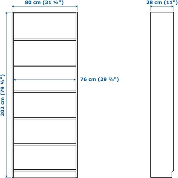 БИЛЛИ Стеллаж дубовый шпон, беленый 80x28x202 см - Артикул: 104.042.51