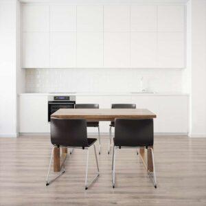 МОРБИЛОНГА / БЕРНГАРД Стол и 4 стула коричневый/Мьюк темно-коричневый 140x85 см - Артикул: 692.460.90